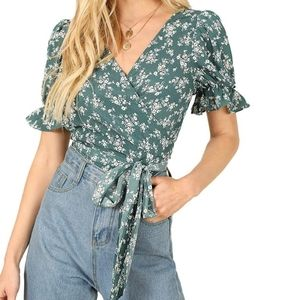 Shein Floral Wrap Top with Puffed Sleeve